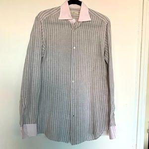 DELLA CIANA grey striped linen button down